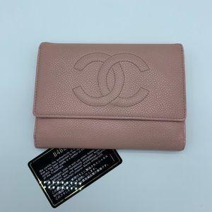Chanel Caviar baby pink medium compact wallet